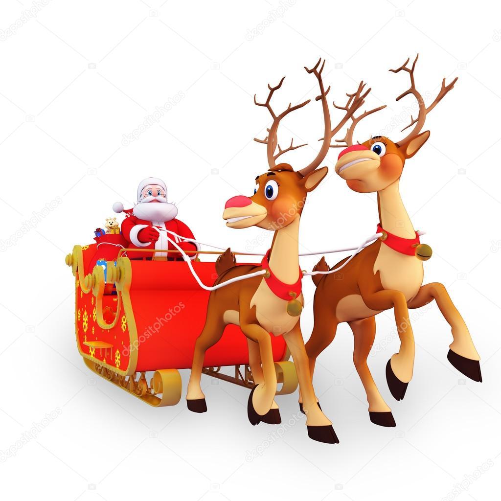 艺术例证的圣诞老人与驯鹿