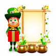 Leprechaun on the green background for st patrick's day — Stock Photo #24382619