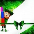 Leprechaun on the green background for st patrick's day - Stock Photo