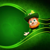 Leprechaun on the green background for st patrick's day — Stock Photo