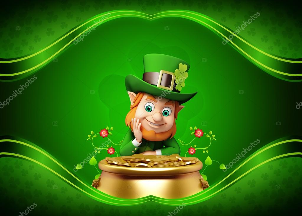 St Patrick Background Images: Leprechaun On The Green Background For St Patrick's Day