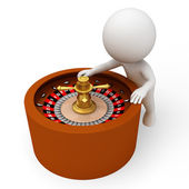 White standing next to a roulette — Foto Stock