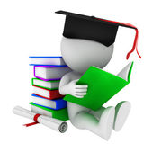 White with graduation and diplama. — Stock Photo