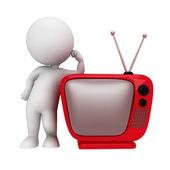 White standing next retro TV — Stock Photo