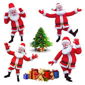 Happy jumping santa claus — Stock Photo
