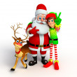 Stock Photo: Santclaus with reindeer and elves