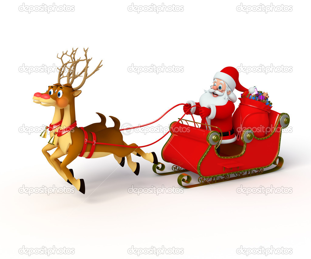 Santa claus with his sleigh — Stock Photo © pixdesign123 #35228775
