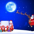 Illustration of santa claus with his sleigh — Stock Photo