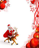 Santa claus is sitting on deer — 图库照片
