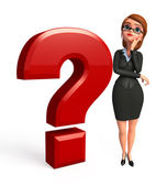 Business woman with question mark — Stock Photo