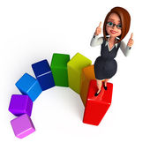 Business woman standing on a graph — Stock Photo