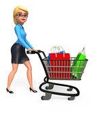 Business woman with shopping — Foto de Stock