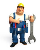 Mechanic with hammer and wrench — Stock Photo