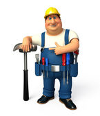 Mechanic with hammer and wrench — Stockfoto