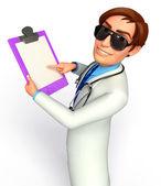 Médico con cojín de escritura — Foto de Stock