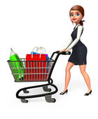Office girl with trolley — 图库照片