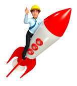 Service man with rocket — Stock Photo