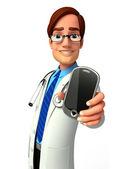 Läkare med mobil — Stockfoto