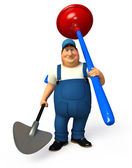 Plumber with toilet plunger and spade — Foto Stock