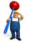 Plumber with toilet plunger — Stock Photo