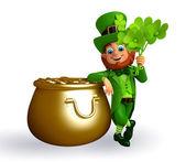 Leprechaun near golden pot — Stock Photo