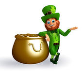Leprechaun near golden pot — Foto de Stock