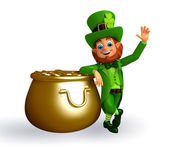 Leprechaun near golden pot — Stock fotografie