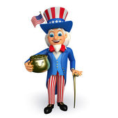 Uncle sam with golden pot — Stock Photo