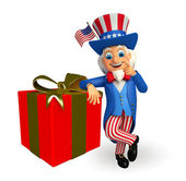 Uncle sam with gift — Stock Photo