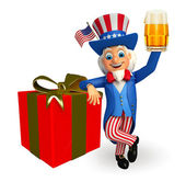 Uncle sam with gift and beer — Stock Photo