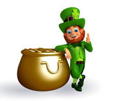 Leprechaun near golden pot — Stockfoto