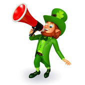 Leprechaun for patricks day with loudspeaker — 图库照片