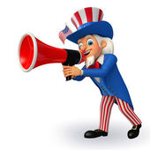 Uncle sam with loudspeaker — Stock Photo