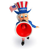 Uncle sam with loudspeaker — 图库照片