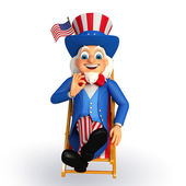 Uncle sam on the beach chair — Stock Photo