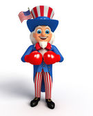 Uncle sam with boxing gloves — Foto de Stock