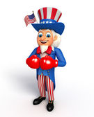 Uncle sam with boxing gloves — Stock Photo