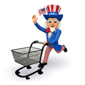 Uncle sam with trolley — Foto Stock
