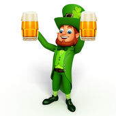 Leprechaun stands with beer glasses — Foto de Stock