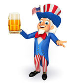 Uncle sam with beer glass — Foto Stock