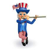 Uncle sam with musical instrument — Stock Photo