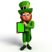 Leprechaun  with ipad — Stock Photo