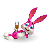 Easter Bunny with beer glass — Stock Photo