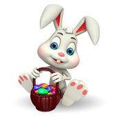 复活节兔子与鸡蛋篮 — 图库照片