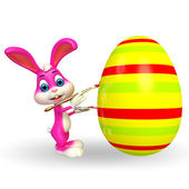 Easter bunny with big colorful egg — Stock Photo