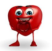 Heart Shape character with heart sign — Zdjęcie stockowe