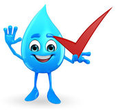 Water Drop Character with right sign — Stock Photo