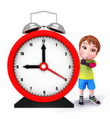 Cute kid with table clock — Stock Photo