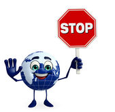 Carácter de la tierra con señal de stop — Foto de Stock