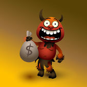 Fanny red devil with money. — Stock Vector